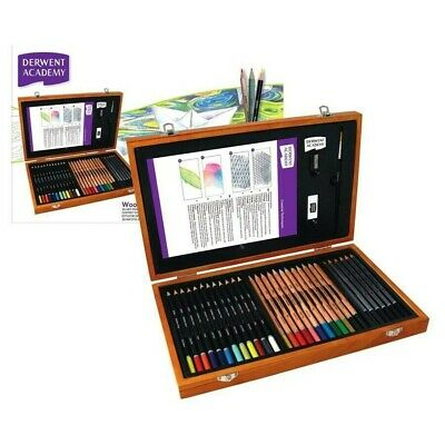 DERWENT WOODEN BOX Set Drawing Watercolour Pencils Paint Brush & More! Colouring