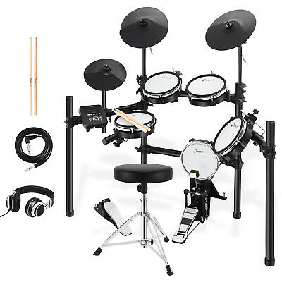 Donner DED-200 Electric Drum Kit with Drum Throne Sticks Headphone Audio Cable