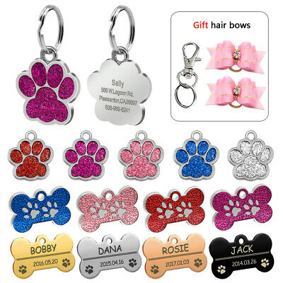 Glitter Personalised Dog Tags Bone/Paw Shape Cat Puppy Name Tags Gift Hair Bows