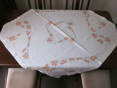 Beautifully Vintage Hand Embroidered Pure Linen Floral Tablecloth