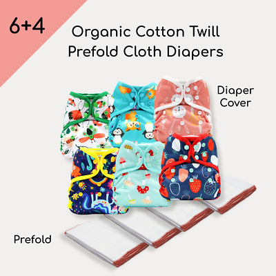 KaWaii Baby 4 Dozen Organic Cotton Prefolds & 6 One Size Diaper Covers Set #2