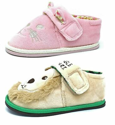 Kids/Childrens Girls Boys Lion Cat Pink Tan Lime Slippers Booties Size 5-10