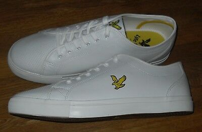 Lyle & Scott White Whitlock Perforated Mens Leather Trainers Size UK 10 / EUR 44