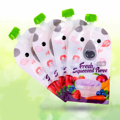 8pcs Reusable Resealable Squeeze Food Pouch Storage Bag DIY Baby Food kits 200ML