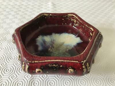 An antique Chinese  fambe glazed hexagonal brush washer, late19th/early 20th C.