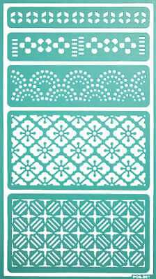 Pochoir adhésif repositionnable Bordure fantaisie 11,5 x 20,5 cm - MegaCrea DIY