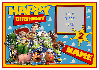 Toy Story Personalised A4 Cake Topper, Add Own Photo/ Message Edible Icing Sheet