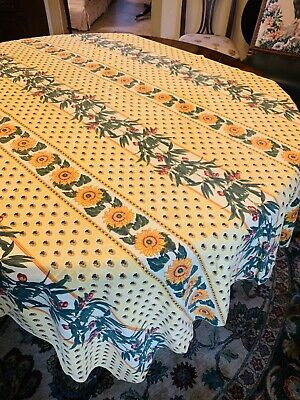 """Vent Du Sud Tablecloth , 80""""x60"""" Rectangle Yellow Sunflower Pattern ."""