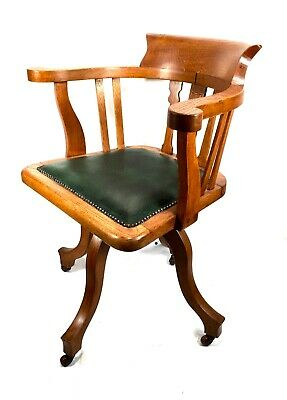 Antique Oak Revolving Wooden Desk Chair / Early 20th Century / C.1930 / Seat