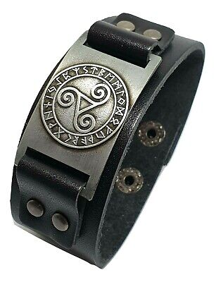 Triskele Triskelion Leather Rune Heathen secret BDSM Symbol Celtic Cuff Bracelet