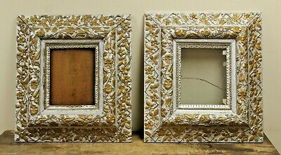 Pair of Antique Victorian Wood Gold Leaf Painted Picture Frames