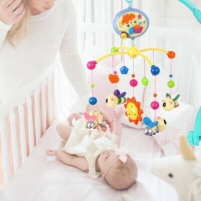 Baby Rotary Musical Bed Bell Crib Cot Mobile Stars Dream Nursery Sound Arm Toy
