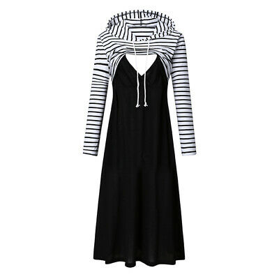 Plus Size Women Maternity Hooded Long Sleeve Striped Long Dress Pregnant Clothes