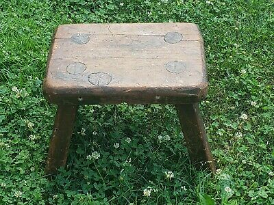 Antique Primitive Wood Stool Seat Milking? Farm Rustic