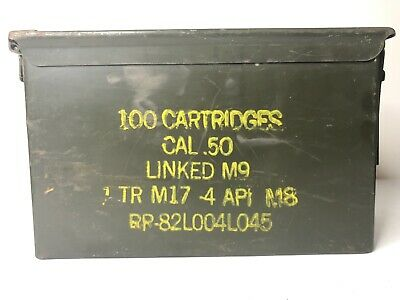 100 CRTG 50 Cal Ammo Can Military Surplus Metal Storage Box .50 Caliber PreOwned