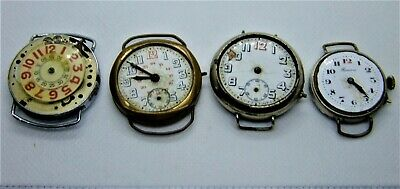 4 x antique retro vintage clocks for parts or repair