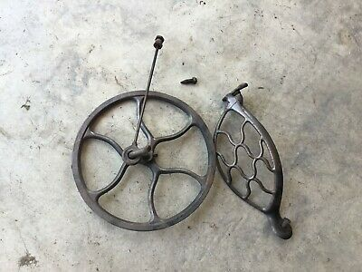 Antique Singer Treadle Sewing Machine Pulley Flywheel, Pitman Rod & Belt Guard