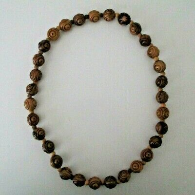 """Hand Carved Large & Small Wooden Beads Necklace CHUNKY STATEMENT 28.5"""" Vintage"""