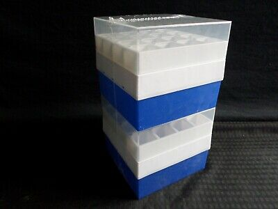 (2) VWR 16-Place Polypropylene Cryo Freezer Storage Box for 50mL Centrifuge Tube