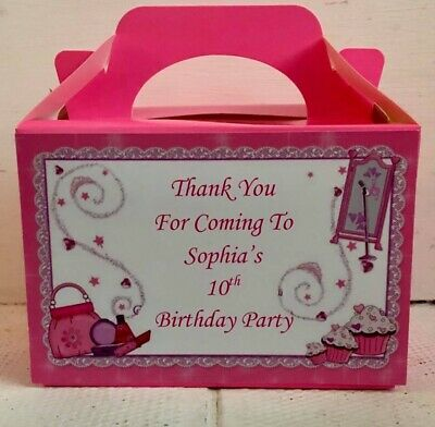 Pamper Make Up Sleepover Personalised Party/Food Boxes Party Favour