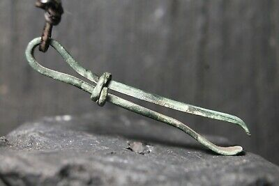 Ancient Bronze Amulet Viking Tweezers, Rare Antique Pendant, 6-11th Century AD.