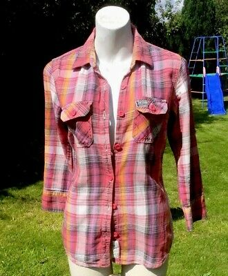 Vintage Super Dry Medium Weight Shirt Red Grey Check Jacket Great Quality