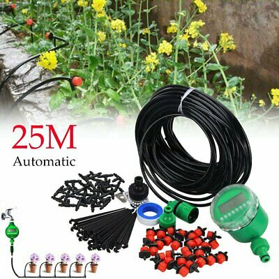 82ft Automatic Drip Irrigation System Kit Timer Micro Sprinkler Garden Watering