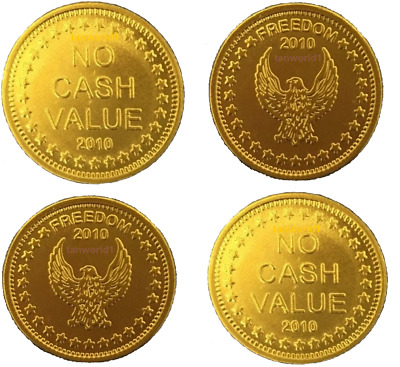 NEW 30 x SUNBED TOKENS EAGLE FREEDOM GOLD EMBOSSED 2010 FOR L1 COIN METER TIMERS