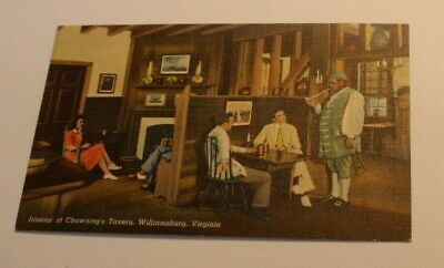 Antique Linen Postcard Interior of Chowning's Tavern Williamsburg Virginia  #108
