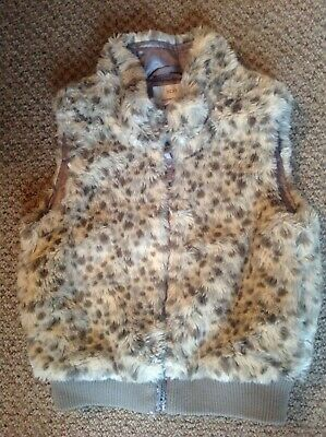 Next girls grey leopard print faux fur gilet age 5-6 years