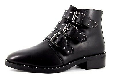 ASOS Ladies UK 8 Black Leather Triple Silver Buckle Studded Zip Up Ankle Boots