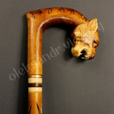 Tiger Woodcarved Cane Walking Stick Wooden Unique Handmade Cane Hiking Staff Eco