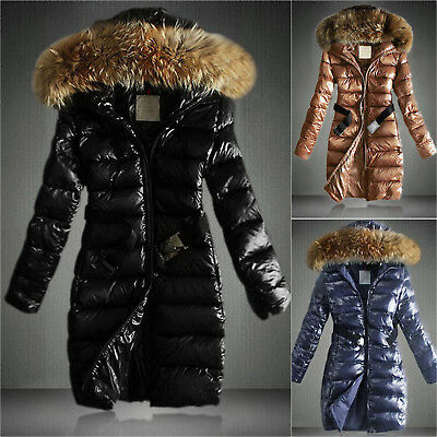 Womens Quilted Winter Warm Coat Puffer Fur Collar Hooded Jacket Parka Outerwear