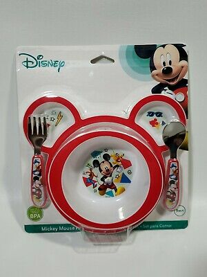 Disney Mickey Mouse 4-Piece Feeding Set Divided Plate, Bowl, Fork & Spoon 9m+
