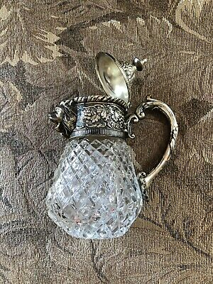 Antique Vintage Silver Plate Crystal Lion Small Decanter