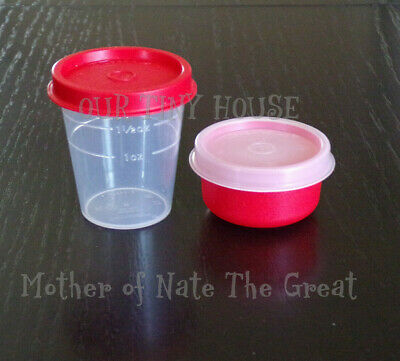 New TUPPERWARE SMIDGET and Midget SET Spice Dressing Mini Smidgets Pill Box RED
