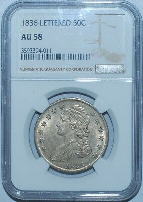 1836 NGC AU58 O-115 R.3 Recut 8 Lettered Edge Capped Bust Half Dollar
