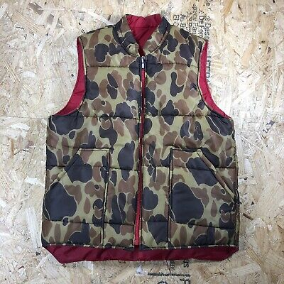vtg 80s HOLLOWAY duck camo print red reversible puffer hunting vest ideal zip M