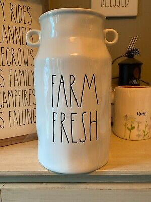"RAE DUNN FARM FRESH 9.5"" TALL  FLOWER VASE Milk Can Canister *FREE SHIPPING*"