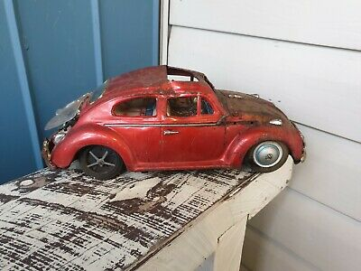 "Big Vintage ""VW"" Tin Toy - Friction - Nice Collectible - Beaten up"
