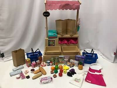 "Farmers Market Food Stand Fits 18"" Doll American Girl OG My Life HUGE LOT 57pcs"