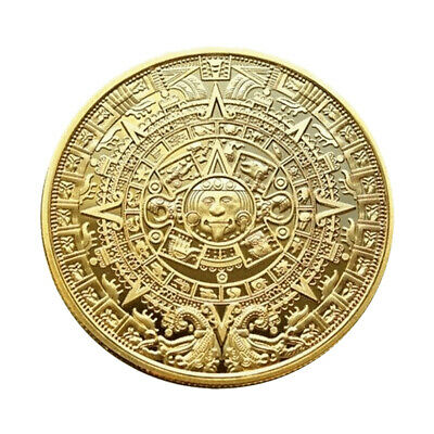 New Maya Commemorative Pyramid Sundial Gold Coin Mexican Aztec Foreign Currency