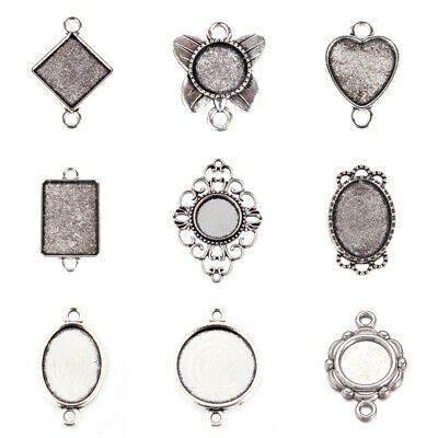 Chic Tibetan Alloy Pendant Cabochon Setting Bezels Cameo Blanks Antique Silver