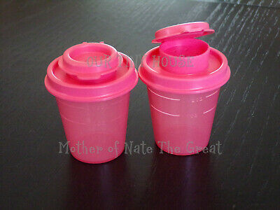 TUPPERWARE SALT AND PEPPER SHAKER SET Spice Small Midget Mini Travel Pink GUAVA