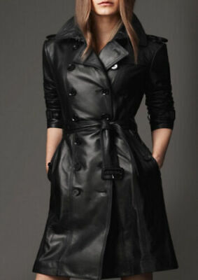 CHIC Womens Slim Jacket with Belt Leather Trench Parka Long Coat Black Outwear