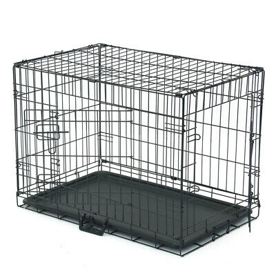 """30"""" inch Dog Crate Kennel Folding Metal Pet Cage 2 Door Divider Tray Pan NEW"""