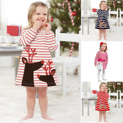 Toddler Kids Baby Girls Deer Striped Princess Swing Dress Christmas Outfit Dress