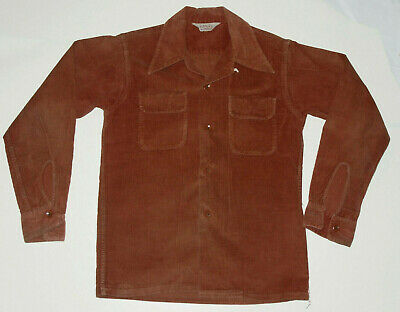 VINTAGE 1950s PENNEY'S BOY'S CORDUROY SHIRT! LOOP COLLAR! POCKETS/LONG SLEEVE 12