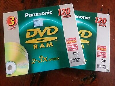 2 Panasonic DVD RAM 3x Speed 120mins 3 Pack Brand New. LM-AF120LE3. Japan
