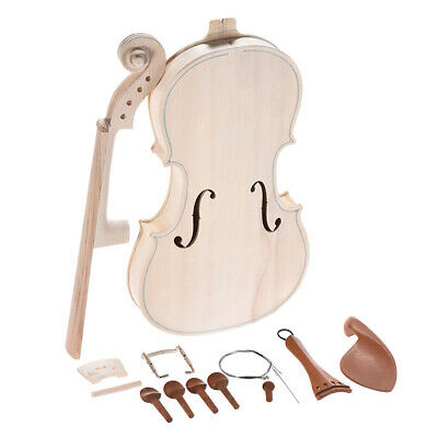 Wood Violin Kit Maple Back Neck Natural Solid With Spruce Top Full Size 4/4 W9I0